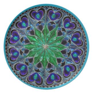 Placa lindo da ilusão do vidro azul e verde pratos