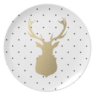 Placa moderna da festa natalícia do veado | prato de festa