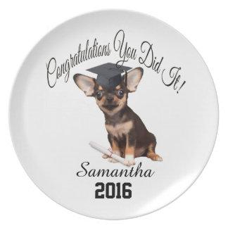 Placa personalizada chihuahua da graduação prato