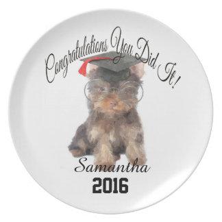 Placa personalizada yorkshire terrier da graduação pratos