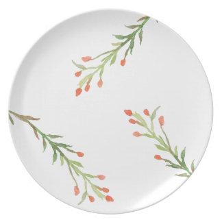 Placa rústica da melamina do ramo do azevinho do pratos de festas