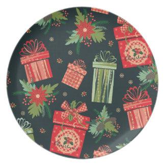 Placa verde decorativa do Natal Louça De Jantar