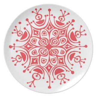 Placa vermelha da melamina do floco de neve louça de jantar