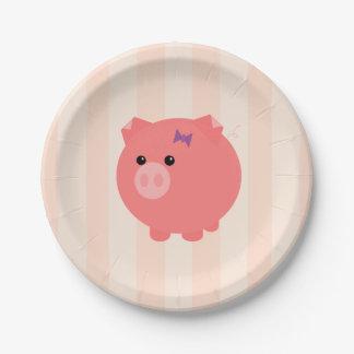 Placas carnudos do aniversário do porco prato de papel