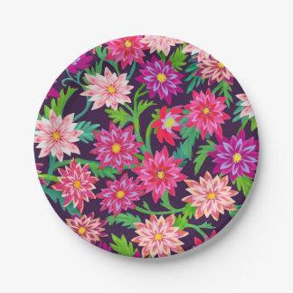 Placas de papel florais Enchanted de rosa de