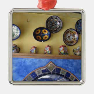 Placas e cerâmica mexicanas da cozinha ornamento quadrado cor prata