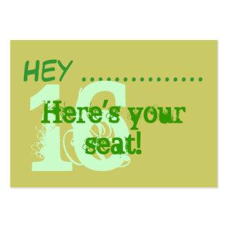 Placecards do partido do doce 16 do verde do cartão de visita grande