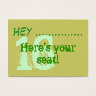 Placecards do partido do doce 16 do verde do cartão de visitas