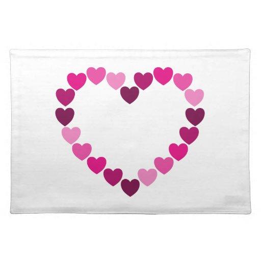 Placemat cor-de-rosa do coração dos corações suporte para pratos