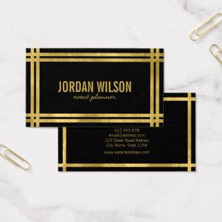 Planejador de evento preto do ouro do falso das cartão de visitas