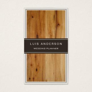 Planejador de evento - textura de madeira à moda cartão de visita