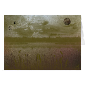Planetas enevoados dourados cartão