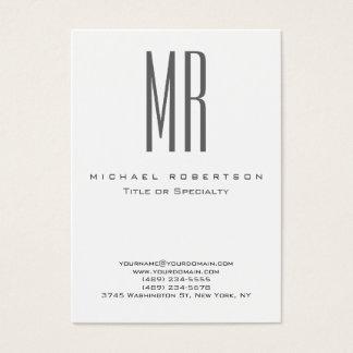 Planície profissional branca do monograma cinzento cartão de visitas