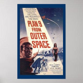 Plano 9 da arte do cartaz cinematográfico do vinta poster