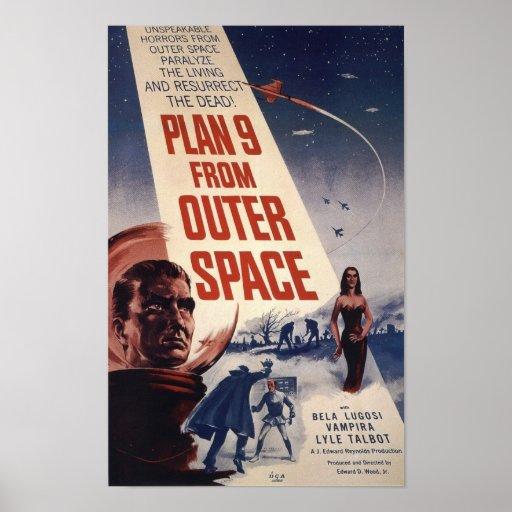 Plano 9 do cartaz cinematográfico do vintage do es posteres
