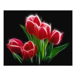 Planta do vermelho da flor da tulipa flyer 11.43 x 14.22cm