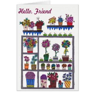 Plantas e flores no cartão da amizade das