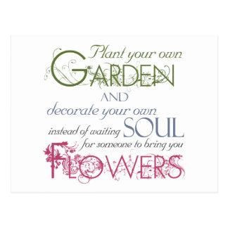 Plante seu próprio cartão das citações do jardim
