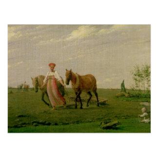 Ploughing no primavera, 1820s cartão postal
