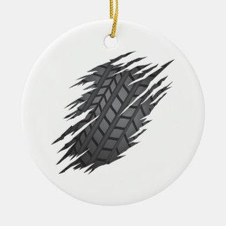 Pneumático rasgado ornamento de cerâmica redondo