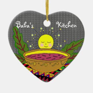 Poder do Borshch para a cozinha do babá Ornamento De Cerâmica Coração