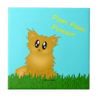 Poder Scuffy bonito Pomeranian de Pom Pom Azulejo Quadrado Pequeno