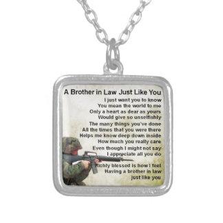 Poema do cunhado - design do soldado colar com pendente quadrado