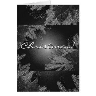 Poinsétia do Natal preta e cinza em inglês Cartao