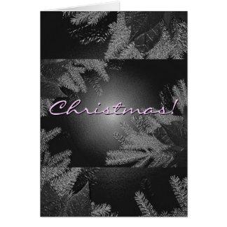 Poinsétia do Natal preta e cinza em inglês Cartão Comemorativo