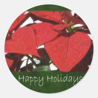 Poinsétias vermelhas 2 - boas festas adesivos em formato redondos