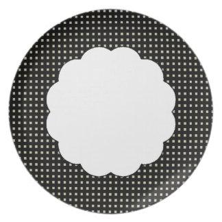 Polca-Ponto-Quadrado-Scallop do Elegante-Design Pratos De Festas