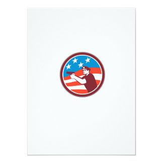 Polícia com o círculo da bandeira americana da convites personalizados