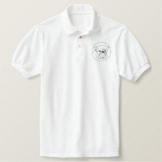 Pólo bordado do buldogue camiseta bordada polo