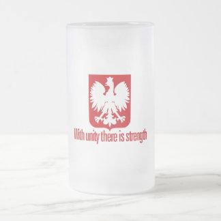 Polônia-Com a força da unidade Caneca De Cerveja Vidro Jateado