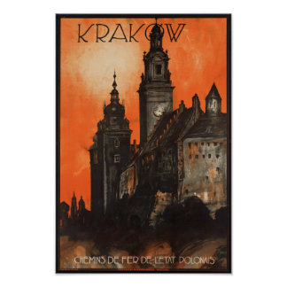 Polônia de Krakow - poster de viagens polonês do