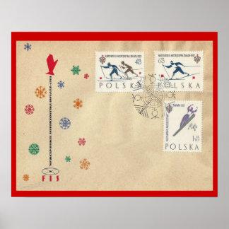 """Polônia do vintage, esportes de inverno, """"primeiro pôster"""