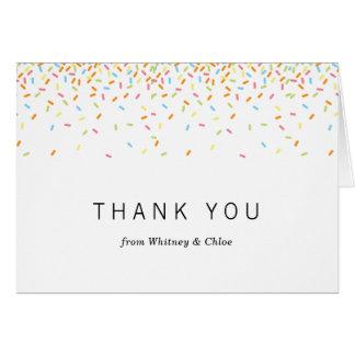 Polvilha cartões de agradecimentos