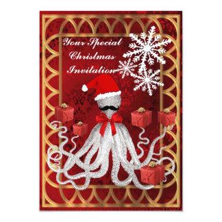 Polvo engraçado do Natal no damasco vermelho