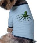 Polvo ilustrado verde e preto camiseta para caes