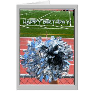 Pom do pom do elogio do feliz aniversario cartão comemorativo