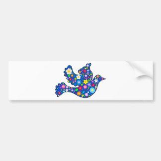 Pomba azul da paz feita de flores decorativas adesivo para carro
