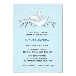 Pomba com ramos, azul, primeiro comunhão convite 12.7 x 17.78cm