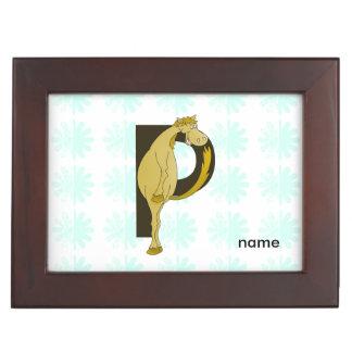 Pônei flexível do monograma P personalizado Caixinha De Lembranças