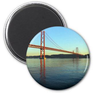 Ponte 25 de Abril, LIsboa, Portugal Ímã Redondo 5.08cm