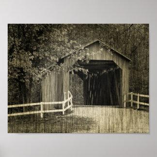 Ponte coberta da angra de Sandy do tom do Sepia Póster
