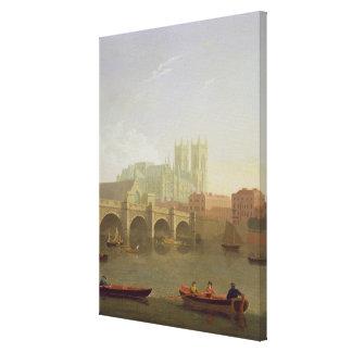 Ponte da abadia de Westminster e do Westminster vi Impressão De Canvas Envolvida