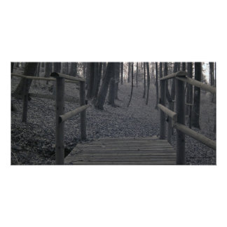 Ponte na floresta/fotografia infravermelha cartões com fotos personalizados
