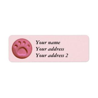 Ponto do impressão da pata - brandamente rosa etiqueta endereço de retorno