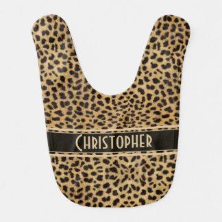 Ponto do leopardo a personalizar babador de bebe