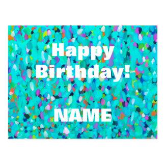 Pontos azuis impressionista multicoloridos cartão postal